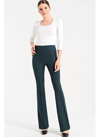 Jument Dream Yüksek Bel Önü Arka Dikişli İspanyol Pantolon Yeşil